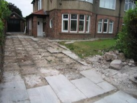 BEFORE LARGE BLOCK PAVED DRIVEWAY BIRKENHEAD